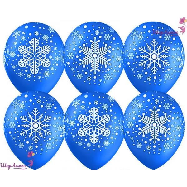 Синие латексные шары со снежинками