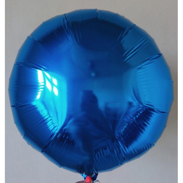Синий фольгированный круг, 45 см