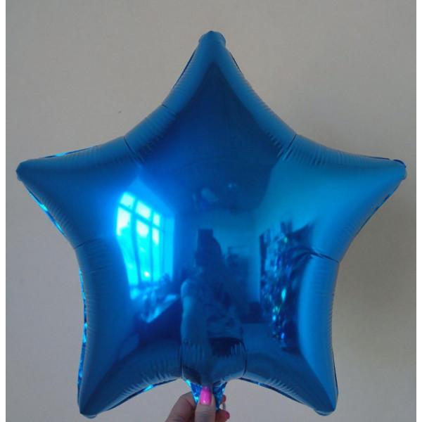 Синяя фольгированная звезда, 45 см