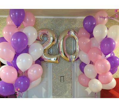 Сиренево-розовая композиция для девушки на 20 лет