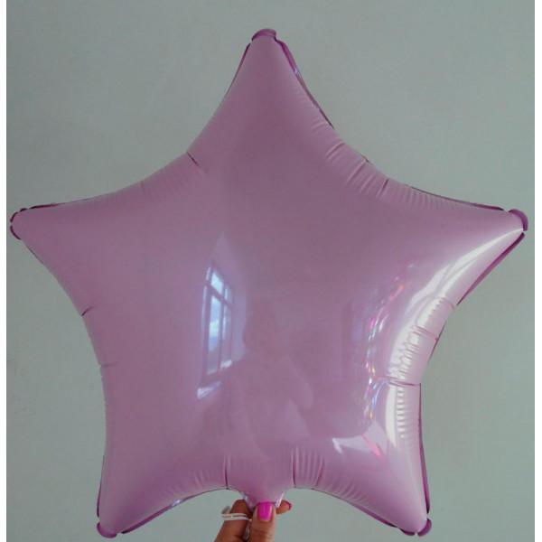 Светло-розовая фольгированная звезда, 45 см