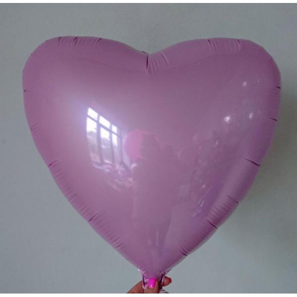 Светло-розовое фольгированное сердце, 45 см