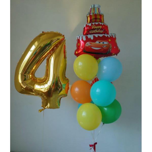 Яркий набор шаров с тортом для именинника