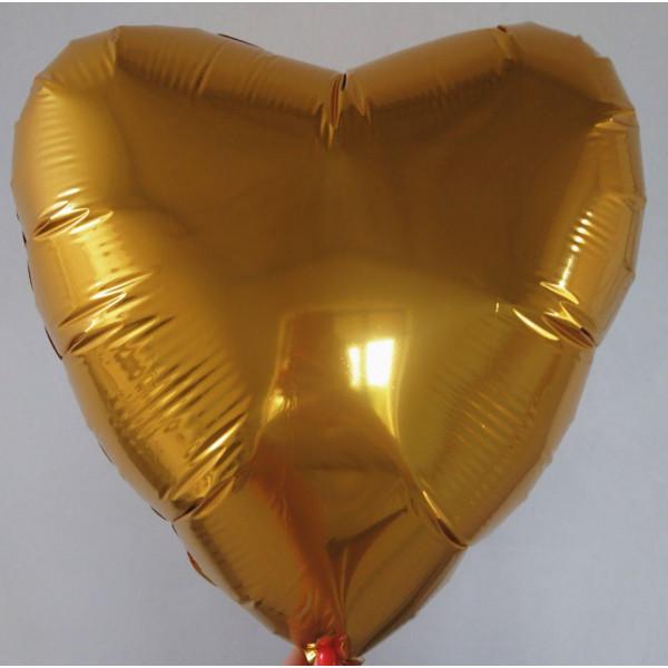 Золотое фольгированное сердце, 45 см